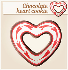 Chocolate heart cookie illustration. Cartoon vector icon