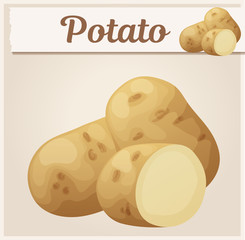 Whole and half potato vegetable. Cartoon vector icon. Series of food and drink and ingredients for cooking