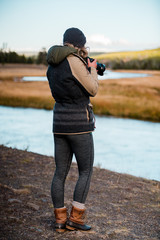 Female Nature Photographer at Creek Side