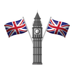 london big ben tower and crossed flags england