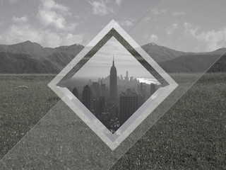Geometrical collage. City and mountain landscape.