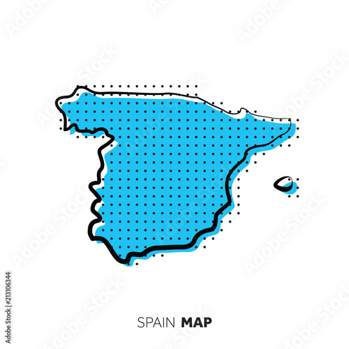 Map Of Spain Vector Free.Spain Vector Country Map Map Outline With Dots Stock Image And