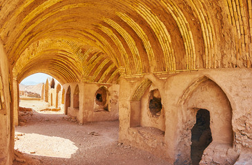 Interior of ancient Khaiele building, Towers of Silence, Yazd, Iran