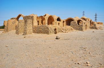 Adobe ruins in Dakhma site, Yazd, Iran
