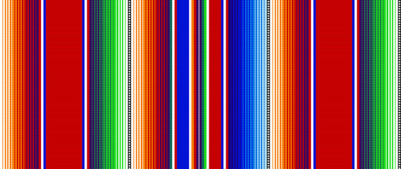 Blanket stripes seamless vector pattern. Background for Cinco de Mayo party decor or ethnic mexican fabric pattern with colorful stripes. Serape gesign Wall mural