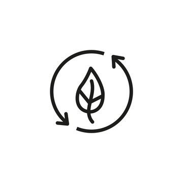 Leaf with recycle symbol line icon. Circle, plant, nature. Ecological recycling concept. Can be used for topics like, environment, ecology, sustainability