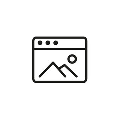 Photography application window line icon. Landscape photography button, photo gallery, camera button. App development concept. Can be used for topics like internet, application, photography