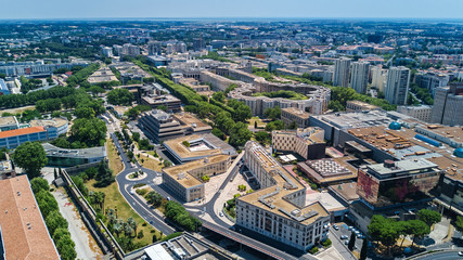 Foto op Aluminium Luchtfoto Aerial top view of Montpellier city skyline from above, Southern France
