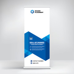 Modern design of roll-up advertising stand, banner template for the exhibition, creative geometric background for photo and text placement.