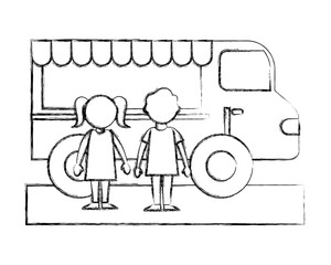 little boy and girl with food truck