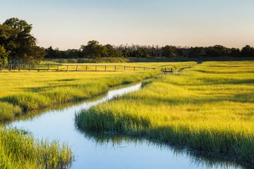 waterway marsh field at sunset