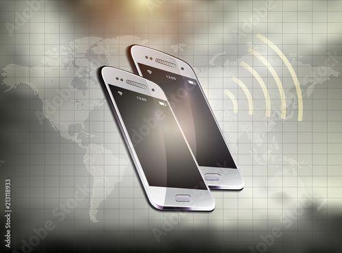 Mobile phone realistic signal icon world map vector separate states mobile phone realistic signal icon world map vector separate states background gumiabroncs Choice Image