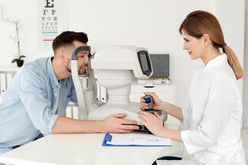 Ophthalmologist examining patient in clinic