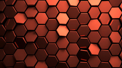 Displaced copper abstact hexagons background 3d render