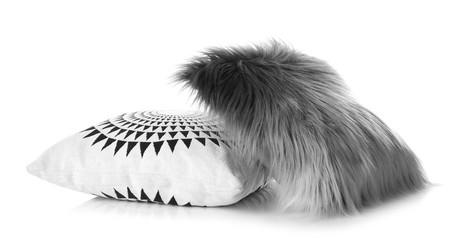 Soft decorative pillows on white background Fototapete