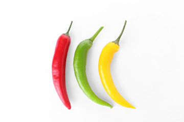 Canvas Prints Hot chili peppers Ripe hot chili peppers on white background