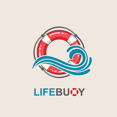red lifebuoy design element with sea waves