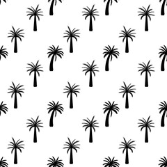 Beautifil Palm Tree Leaf  Silhouette Seamless Pattern Background Vector Illustration