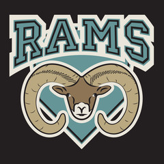 Rams Logo Sport. Sport wear typography emblem, graphics for t-shirt or other uses.