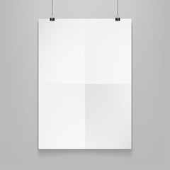 Stock vector illustration realistic mockup poster white horizontal. Isolated on a gray background EPS10