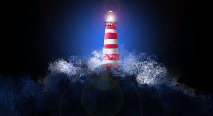 A beautiful night sky behind a shining lighthouse. Splashes of water, abstract background, rays of light Fototapete