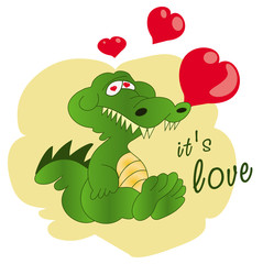 Greeting card Crocodile with hearts