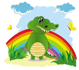 Illustration of a rainbow in the sky with a green cartoon crocodile