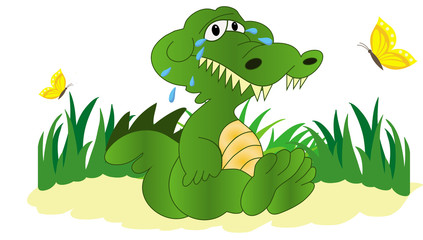 Illustration of crying crocodile