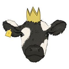 Hand draw digital illustration of Cow Princess. Cow with a crown with white background. Farm animal