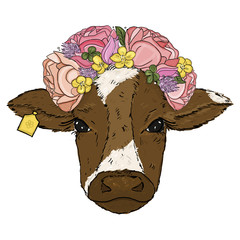 Hand draw digital illustration of Cow with flowers on the head. Cow with the wreath head on white background. Farm animal