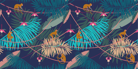 Seamless tropical pattern. Pattern with tropical plants and animals in cartoon style.