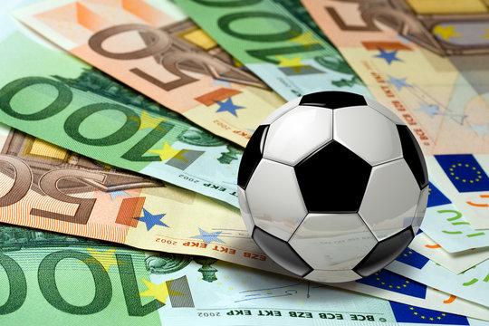Soccer Ball on euro banknotes concept