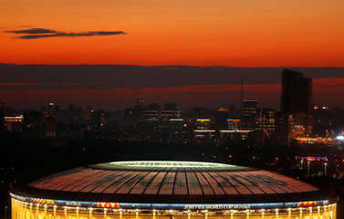 The Luzhniki stadium is illuminated prior to the upcoming World Cup final between France and Croatia in Moscow