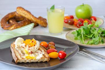 Turkish breakfast on wooden table.