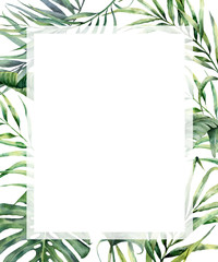 Watercolor tropical vertical frame with exotic palm leaves. Hand painted floral illustration with banana, coconut and monstera branch isolated on white background for design, fabric or print.