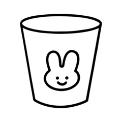 Cup cartoon illustration isolated on white background for children color book