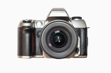 Classic photo camera isolated on white background. Retro camera. Film camera with big round lense Wall mural