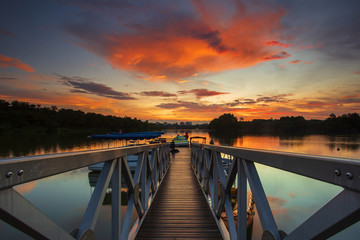 Beautiful sunset at Wetland Park, Putrajaya Malaysia.Soft Focus,Blur due to Long Exposure.Visible Noise due to High ISO.
