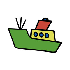 Cute battleship cartoon illustration isolated on white background for children color book