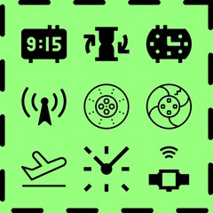 Simple 9 icon set of time related clock, helicopter profile, departures and smartwatch vector icons. Collection Illustration