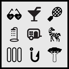 Simple 9 set of Summer related tennis, heart shaped sunglasses, baobab and hook vector icons