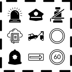 Simple 9 icon set of law related police cap, traffic sign, police cap and library vector icons. Collection Illustration