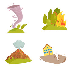 Natural cataclysm icons set. Tsunami wave, tornado swirl, flame meteorite, volcano eruption, sandstorm, deglaciation, storm. Cartoon style color icon. Vector illustration isolated on white background.