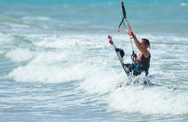 6 June 2018, Cabarete Beach, Dominican Republic, Kite surfers on the beach.