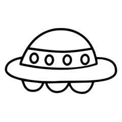 UFO cartoon illustration isolated on white background for children color book