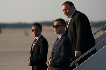 Secretary of State Mike Pompeo arrives at Andrews Air Force Base, Md., Friday,