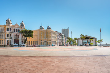 Recife, Pernambuco, Brazil - JUN, 2018: Panoramic view of Architecture in Marco Zero (Ground Zero) Square at Ancient Recife district with buildings dated from the 17th century