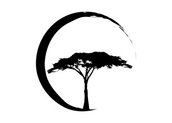 African tropical tree logo icon black and white, acacia tree silhouette, ecological concept of nature, vector isolated