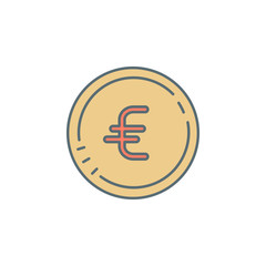 euro coin dusk style line icon. Element of banking icon for mobile concept and web apps. Dusk style euro coin icon can be used for web and mobile