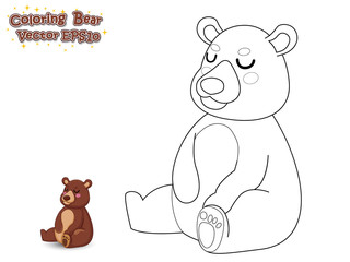 Coloring the Cute Cartoon Bear. Educational Game for Kids. Vector illustration.